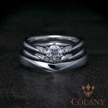 婚約&結婚指輪の重ね着けが美しいセットリング