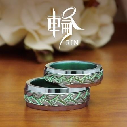 【輪】繊細な手彫りのチタンリング~デメテル~のサムネイル