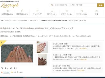 福島県在住ユーザーが選ぶ結婚指輪・婚約指輪人気セレクトショップランキング 1位に選ばれました!
