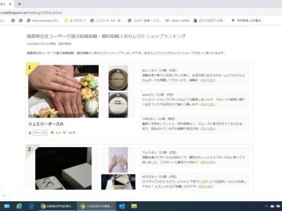 2か月連続!!福島県在住ユーザーが選ぶ結婚・婚約指輪人気セレクトショップランキング1位
